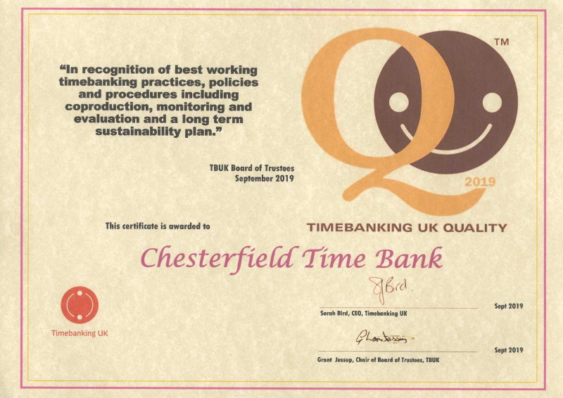 Certificate - Timebanking UK quality.
